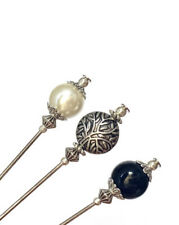 """More details for 3x hat pins for ladies wedding hats, 5""""long with pin protectors pearl, onyx"""