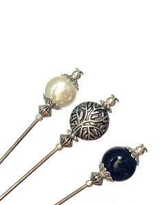 """3x Hat Pins For Ladies Wedding Hats, 5""""long With Pin Protectors Pearl, Onyx"""