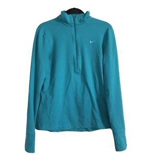 NIKE Teal Green Fit Dry Half Zip 1/2 Zip Pullover Athleisure Top Womens Medium