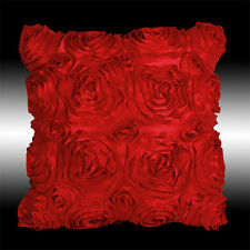 RED 3D RAISED RIBBON ROSES FAUX SILK DECO THROW PILLOW CASE CUSHION COVER 16""