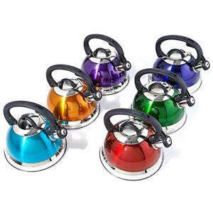 Whistling Tea Kettle Stainless Steel 2.5 Quart Qt Teapot Dishwasher Safe COLORS