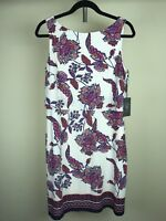 Vince Camuto Floral Dress Tropical Flower White Dipped Purple Pink Red Size 8 10