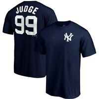 New York Yankees Aaron Judge Majestic Navy Blue Name And Number Jersey T-Shirt