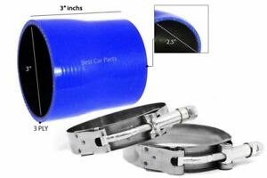 """BLUE Silicone Reducer Coupler Hose 3""""-2.5"""" 76 mm-63 mm + T-Bolt Clamps CH"""