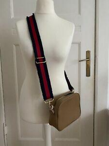 Meg & Bee Handtasche bag crossbody beige Strap rot blau classic kit Leder TOP