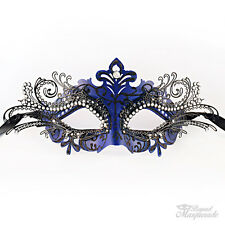 Royal Blue 3D Beautiful Luxury Women Masquerade Party Halloween Mardi Gras Mask
