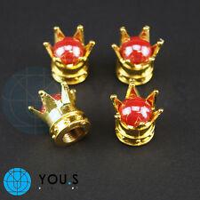 2 pièce couronnes cache-soupape en or avec Rouge perlefür Moto P. ex. HARLEY