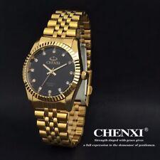 Luxus Herren Uhr Gold Edelstahl Armband Strass Kristall Kleid Quarz Armbanduhr