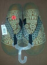 Aztec Men's Embroidered Flip Flops, Gray/Black/Brown, Chevron, Size L 10-11, NEW