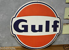 GULF EMBOSSED METAL signs repair shop gas STATION pump globe oil Vintage look