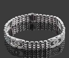 Hombres 1.30 Quilate Herradura Suerte Brazalete Diamante 14k Blanco Oro Macizo