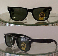 2 pair 80's WAYFARER RETRO SUNGLASSES CLASSIC BLACK TORTIOSE GLASS LENSES