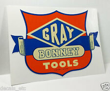 Gray Bonney Tools Vintage Style DECAL, Vinyl STICKER, rat rod, tool box, hot rod