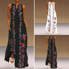 Women Loose Floral V Neck Sleeveless Party Club Cocktail Dresses Long Maxi Dress