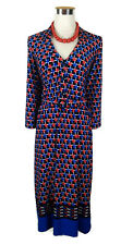 LEONA EDMISTON Dress - Vintage Style Geometric Blue Red White Stretch Belt - 8/S