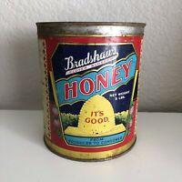 Vintage Bradshaw's Clover Blossom Honey Tin Can + Lid 5 Lbs Package Original
