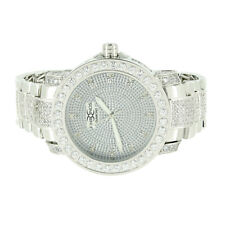 White Gold Tone Real Diamond Khronos Watch Stainless Steel Back Roman Numbers