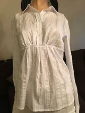 Michael KORS Size 8 White Button Front Dress Shirt Long Sleeve Career Blouse