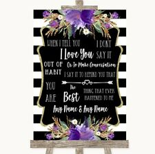 Wedding Sign Black & White Stripes Purple When I Tell You I Love You