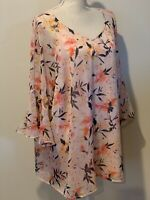 CJ Banks Top 3X New Silky Floral Tank Lined Shirt With Tassels Plus Size NWT