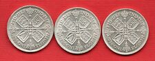 1933,1935 & 1936 GEORGE V SILVER FLORIN COINS. 3 X TWO SHILLINGS. IN HIGH GRADE.