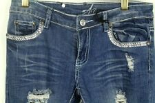 A7 Women's Jeans Boot Cut Embellished Distressed Stretch Swarovski Size 26