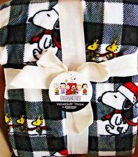 Peanuts Snoopy Christmas Black &White Plaid Large Berkshire Fleece Blanket 60x90