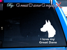 "I love my Great Dane ""Cropped"" #1 -Vinyl Decal Sticker-Color Choice-High Quality"