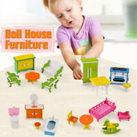 Miniature Wooden Toy Set Doll House Furniture Bathroom/Kitchen/Living    !