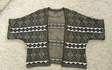 AZTEC KNIT SHORT SLEEVED LADIES CARDIGAN-SIZE XL