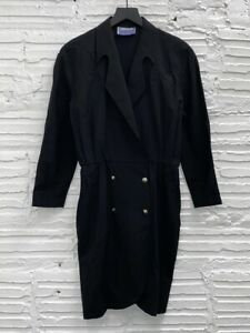 Vintage Thierry Mugler Black Long Sleeve Dress With Studded Snap Front