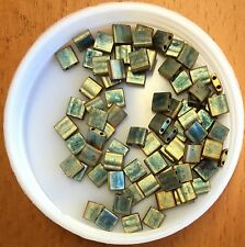 5x5mm Tila® Beads,(2)0.8mm Holes,Opq Matt Metalic Patina Iris Green(2035), 3.5g