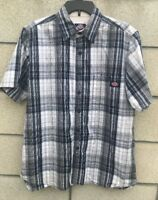 Authentic Dickies Mens Shirt Size L Plaid Short Sleeve Button Front One Pocket