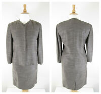 Linda Allard Ellen Tracy Plus Size Gray Linen Blend Skirt Suit Size 14 Career