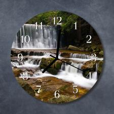 Glass Wall Clock Kitchen Clocks 30 cm round silent Water Falls Green