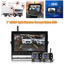 "7"" HD Truck Split Monitor Record Video DVR Reversing Monitoring w/Backup Camera"