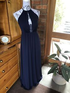 H&M Womens Evening Party  Long Navy Dress Size:6 - Brand New With Tags $99.00