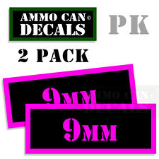 9MM Ammo Can Sticker bullet Can Box ARMY Gun safety Hunting 2 pack PK