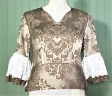 Floral Satin V-Neck Peplum Lace Ruffle Top Size 8 New! ~EugeniaM Designs~