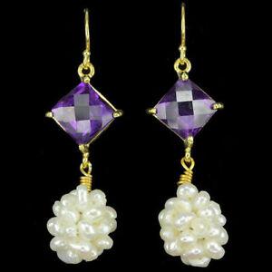 Natural AAA Intense Purple Amethyst & White Pearl 925 Sterling Silver Earrings