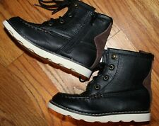 NEW Baby Gap Black Brown Faux Leather Hiker Boot Shoes Toddler Size 10