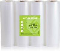8' x 25' Vacuum Sealer Bags Rolls 4 Roll Pack for Food Saver, Seal a Meal Vac