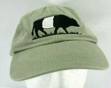 ADAMS Strapback Cap Taupe Hat Embroidered Cow Logo Marthas Vineyard Farm Inst