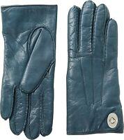 COACH 253571 Womens Leather Turnlock Gloves Moroccan Blue Size 8