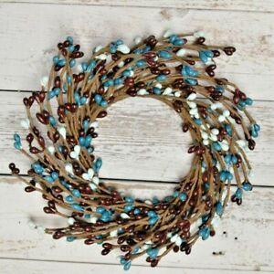 """Pip Berry WATERS EDGE Candle Ring Wreath Teal Blue Brown ~ 3.5"""" - 4.25"""" Opening"""