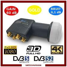 LNB Quad Tête Universelle 0,1 dB Gain 60 dB Full HD 3D Ultra HD 4K Gold