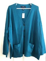 LANDS END NWT CARDIGAN V Neck SWEATER WOMENS 3X With Pockets Turquoise Blue