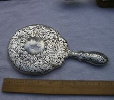 Beautiful GORHAM Sterling Floral HAND MIRROR-#C772-Low Relief-Dated 1902