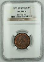 1799 Great Britain 1/4 Penny Farthing Copper Coin George III MS-63 Red Brown AKR