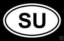 SU - SOVIET UNION COUNTRY CODE OVAL  WINDOW/BUMPER STICKER